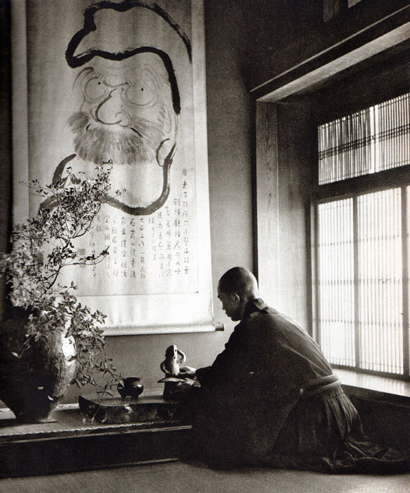 Zen monk at tokonoma